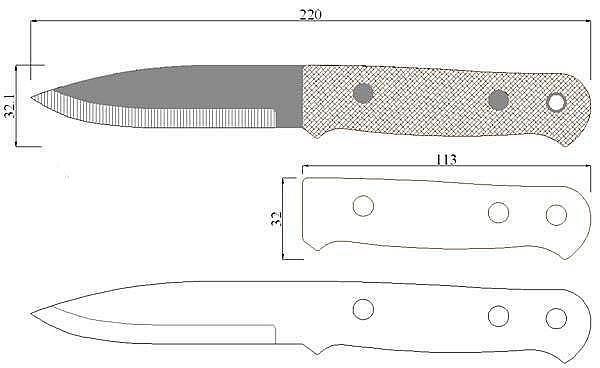 Чертеж ножа Wodlore Bushcraft