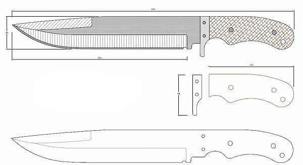 Чертеж ножа YD 1215-LOCK knife from LOST