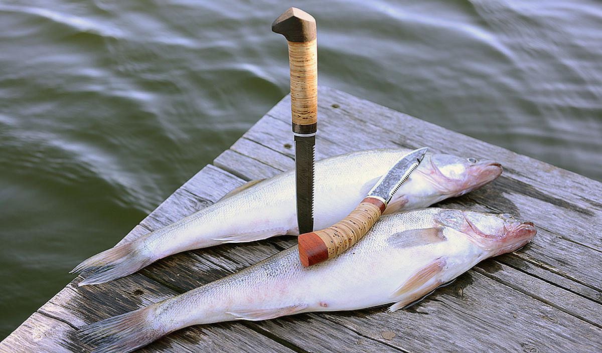 Рыбацкие ножи из дамасской стали